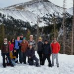 group photo of snowshoers at Cameron Pass